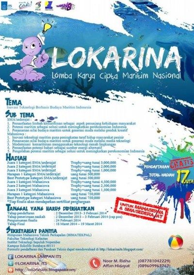 BURUAN DAFTARIN DIRI ANDA ! Lomba Karya Cipta Maritim Nasional presented by @LOKARINA_ITS