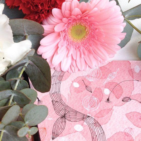 Petali, Rosa. Acquerello con disegno ad inchiostro, floreale, botanica