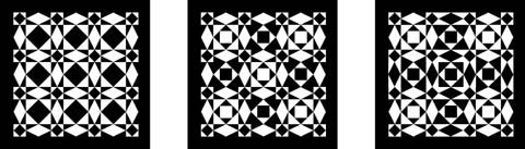 Storm At Night:This eye-bending quilt pattern, based on the traditional storm-at-sea pattern, is actually composed of rather simple elements with none of the curves that we sometimes perceive when looking at it. A basic version is shown at the left above, with two more complex alternates to the right. This article describes the construction of the basic version: