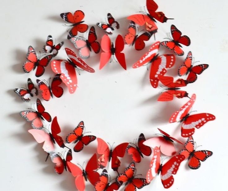 New Red 12PCS DIY 3D Butterfly Wall Sticker Decal Home Decor Room Decoration
