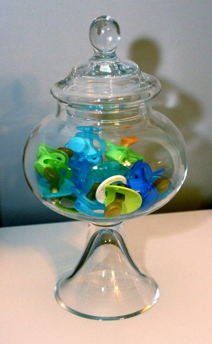 So cute! Love the colorful binkies in such a classy container.