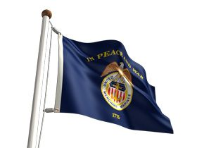 Merchant Marine Flag - Unsurpassed in beauty and craftsmanship, the Merchant Marine flags are manufactured to precise specifications. Let freedom ring by greeting others with the U.S. Merchant Marine Flag. Present the spectacular sight and wave the official Merchant Marine Flag Nylon. These flags are made with heavy duty, 200-denier 100% outdoor nylon. They are screen dyed in bright, vibrant colors and finished with strong white headers and brass grommets. Made in the USA..