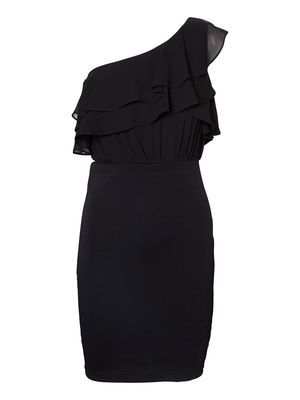 One shoulder party dress from VERO MODA. An elegant cocktail dress for your next party. #veromoda #black #dress #fashion #style