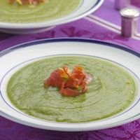 Asparagus Soup 174 calories per serving as written. Eating Well via Fitness magazine. Skip the prosciutto!