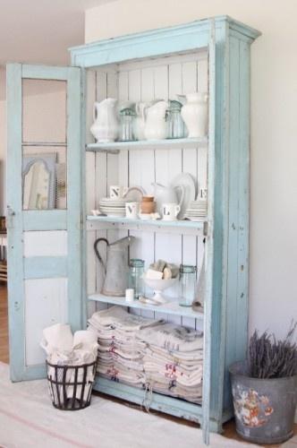 Kitchens, Decor, Dreamy White, Ideas, Blue, Shabby Chic, Old Cabinets, Shabbychic, Linens Closets