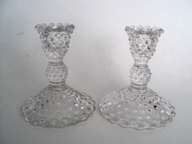 Pair 4 3 4 Clear Glass Duncan Miller Hobnail Candlestick Candle Holders Vintage Duncanandmiller Eleg Vintage Candle Holders Candlesticks Candlestick Holders