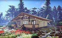 Проект деревянного дома из клееного бруса Шале Камю, площадь 165 м2, 1 этаж, 3 спальни, фото 1