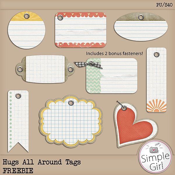 Hugs All Around Tags Free  DOWNLOAD - smashbooks projectlife