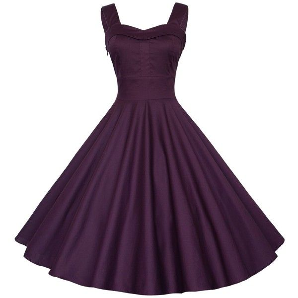 Maggie Tang 50s 60s Vintage Cocktail Retro Swing Rockabilly Ball Gown... ($40) ❤ liked on Polyvore featuring dresses, gowns, evening dresses, retro evening dresses, holiday dresses, purple ball gown and purple cocktail dress