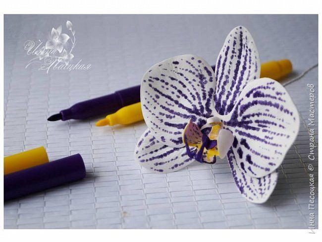 Идея!!! Рисуем пятнышки на лепестках орхидеи Данный мини мастер-класс показывает способ нанесения пятнышек на лепестки цветов из фоамирана при помощи маркеров по ткани, а не сборке цветка орхидеи фаленопсис. Пятнышки на лепестках, нанесенные данным способом  (в соответствии с прилагаемой к маркерам инструкцией), не размазываются и не смываются после сборки цветка. Для работы нам понадобится: - заготовки лепестков из фоамирана белого цвета; - маркеры по ткани (ТОЛЬКО НЕ ПРОСТЫЕ…