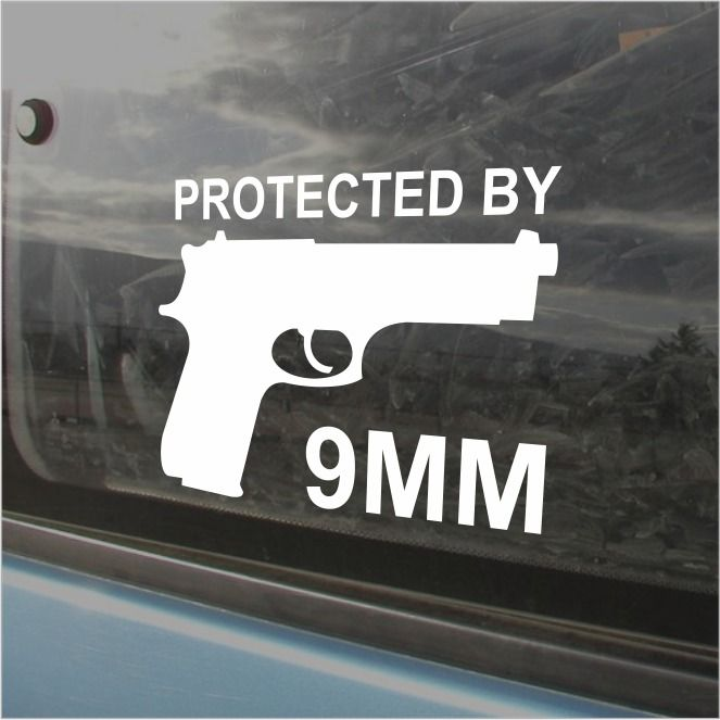 Protected By 9MM Bumper Sticker Vinyl Decal Hand Gun Molon Labe Car Sticker Ammo #3M