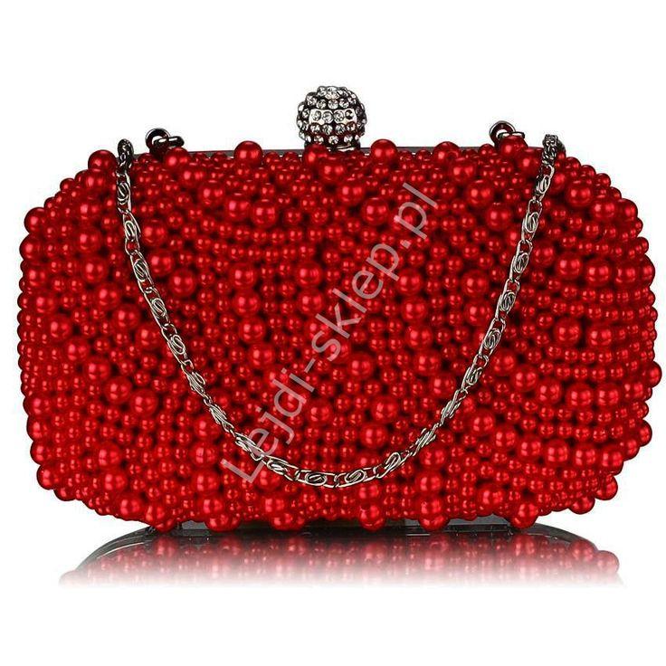 Torebka z czerwonymi perłowymi koralami | torebka sztuczne perełki