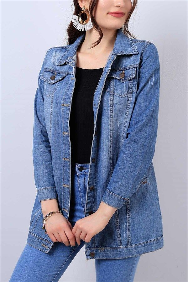 59 95 Tl Mavi Bayan Boyfriend Kot Ceket 13948b Modamizbir Kot Ceket Kotlar Spor Giyim