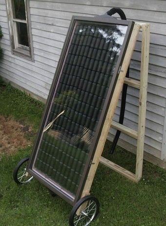DIY solar heater made from soda cans. Should be enough heat for a green house.: Solar Heater, Greenhouse, Small Garage, Solarheater, Garden, Green House
