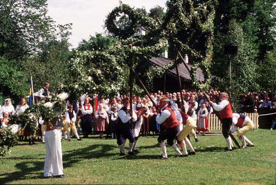 Midsommer Festival in   Falkoping Sweden Raising of the May Pole