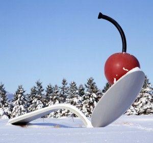 """Claes Oldenburg's """"Spoonbridge and Cherry""""  in the Walker Art Museum sculpture garden. I miss Minneapolis."""