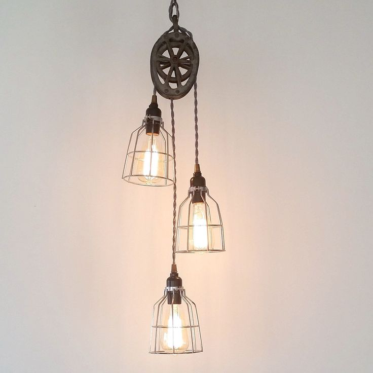 Three light pulley pendant industrial modern lighting plus