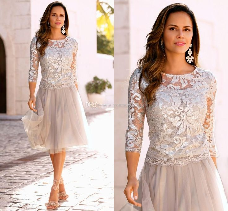 2017 Newest Short Mother Of The Bride Dresses Lace Tulle Knee Length 3/4 Long Sleeves Mother Bride Dresses Short Prom Dresses