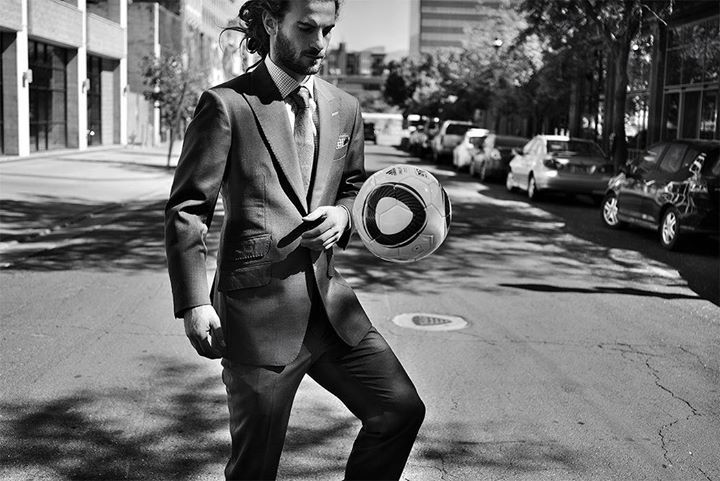 Kyle Beckerman Thats what I'm talking about suit and tie with a soccer ball