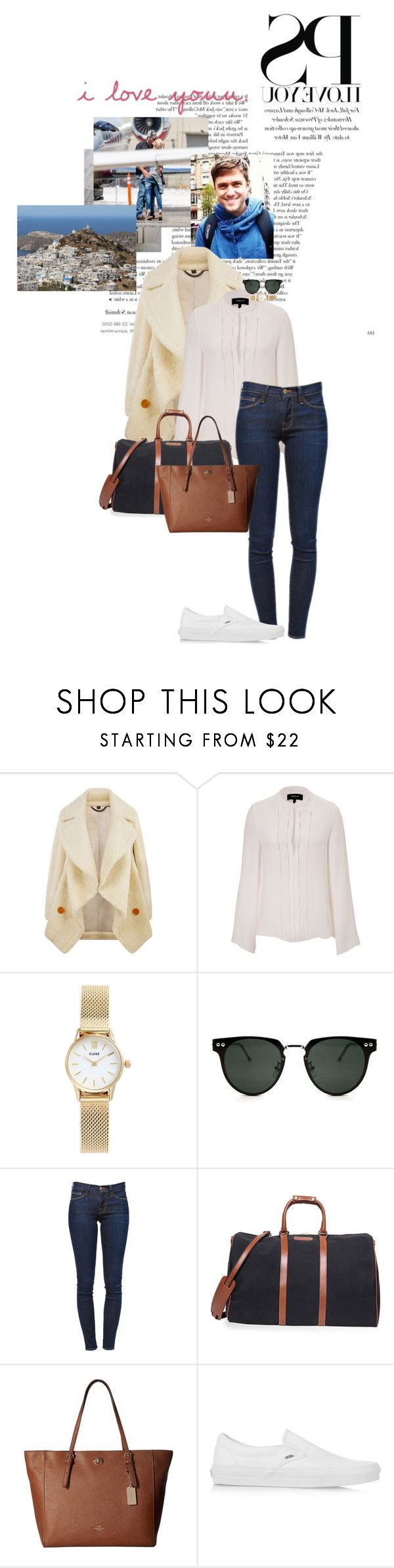 """""""Arriving in Greece with Andrew"""" by ladyeileen ❤ liked on Polyvore featuring Burberry, Derek Lam, CLUSE, Spitfire, Frame, T. Anthony, Coach and Vans"""
