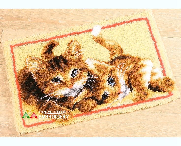 Find More Cushion Information about 3D Latch Hook Rug Kits DIY Needlework Unfinished Crocheting Rug Yarn Cushion Mat Playful Cats Handicraft Embroidery Carpet Rug,High Quality Cushion from DIY embroidery store on Aliexpress.com