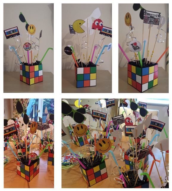 Rubik cube exploding boxes table centerpieces 80 39 s theme for 80 s table decoration ideas