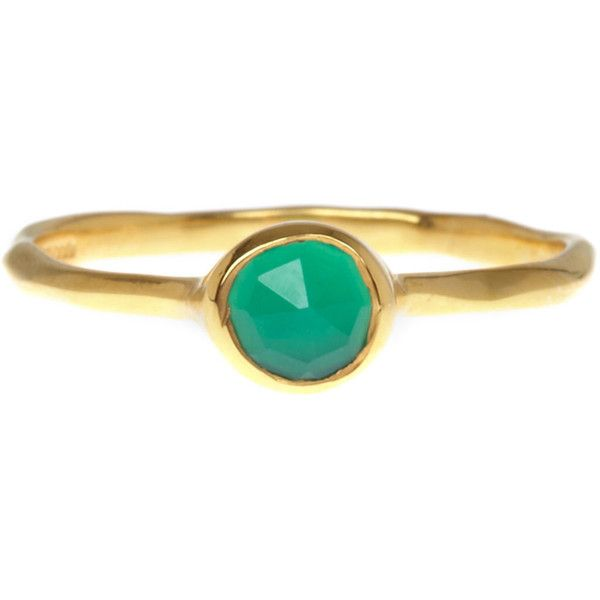 Monica Vinader Gold Vermeil Green Onyx Small Siren Stacking Ring ($100) ❤ liked on Polyvore featuring jewelry, rings, accessories, band jewelry, vermeil ring, stackable band rings, gold vermeil jewelry and gold vermeil ring