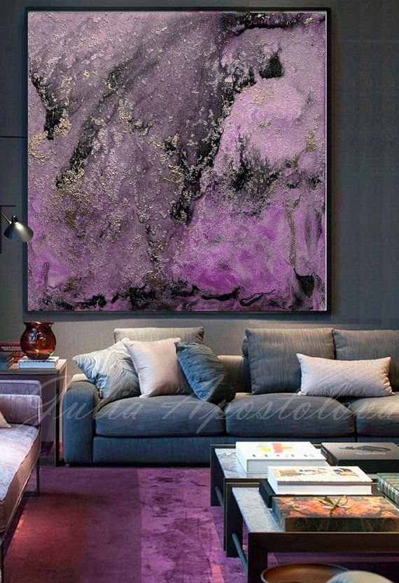 Purple And Black Large Wall Art Abstract Painting Canvas Leaf Wall Art Grey Abstract Art Large Wall Art