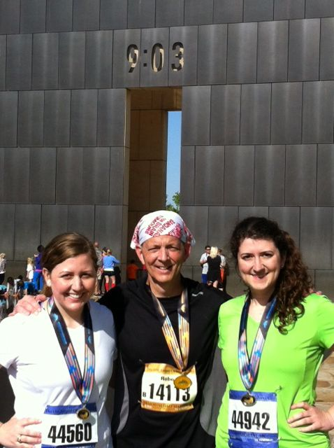 I'M WEARING MY BANDANA at the April 28, 2013 Oklahoma City Memorial Marathon...I ran in honor of my father, who died of a level IV glioblastoma in 2011  ~  Robert......Wonderful to see our bandana campaign reaching the US! The Oklahoma City Memorial Marathon is held in memory of the 1995 terrorist bombing victims and has a field of over 20,000 runners. Robert Rumph ran the half-marathon and is pictured here after the race with his daughter and niece.