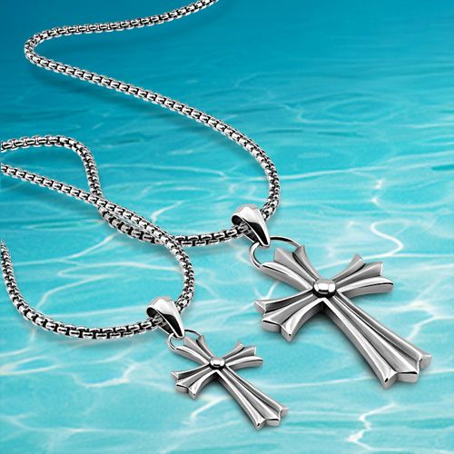 2014 brand new retro cross pendant necklace, pure 925 sterling silver men's jewelry,vintage long men cross chain necklace