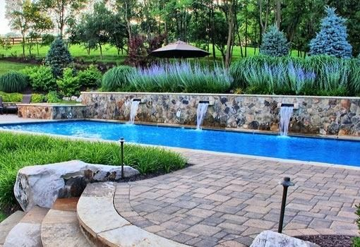 Image result for rectangular pool with sloping uphill ... on Uphill Backyard Ideas id=96467