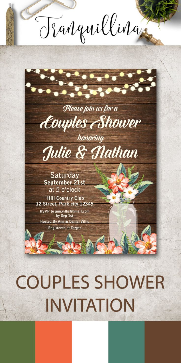 Couples Shower Invitation, Rustic Bridal Shower Invitation Printable, Mason jar Couples Shower party Invitations, Country Wedding Ideas, Digital File - Mason Jar Invitation - pinned by pin4etsy.com