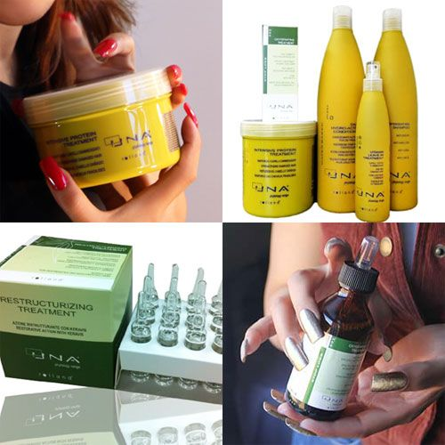 UNA hair products by Rolland Italy, including a sulfate free protein conditioner, a highly rated anti-hair-loss combination set, anti-hair-loss drops and growth stimulation drops.
