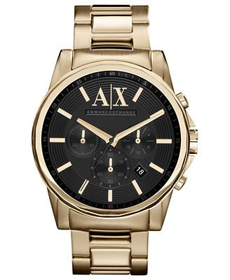 A/X Black Dial Gold-plated Stainless Watch