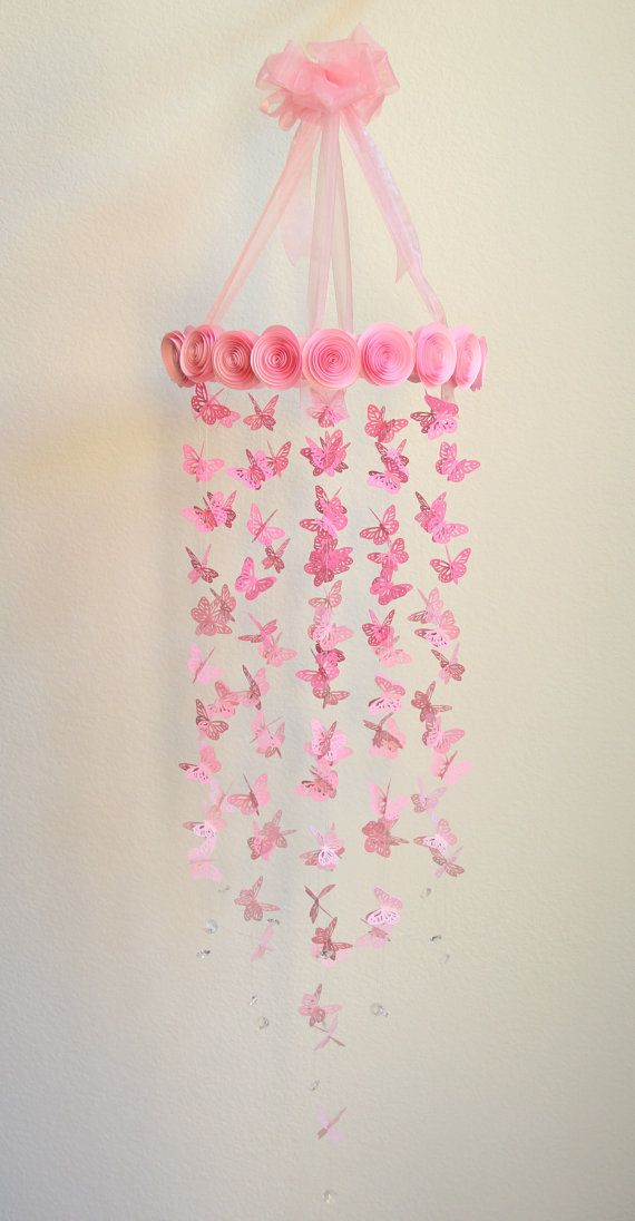 Pink Butterfly Mobile  Baby Mobile Nursery Decor Crib by eTrendzy, $90.00