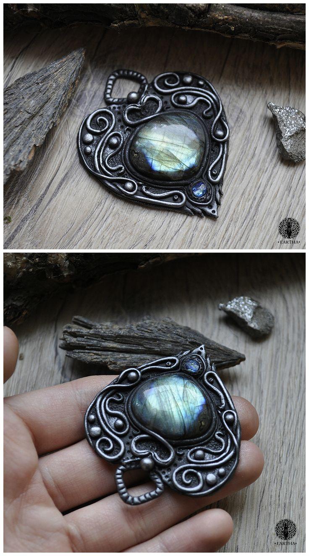 Eartha Creations handmade jewelry. Fantasy & unique design and stones! #jewelry #handmade #unique #fantasy #celtic #viking #moon  #labradorite #spiritual #spirit #ooak #heart #blue #boho