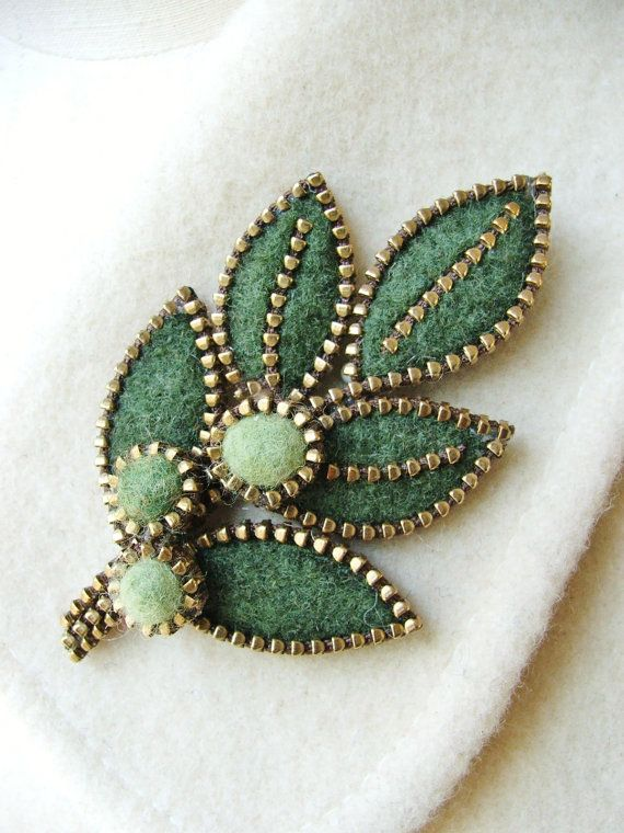 Felt and zipper leaf brooch