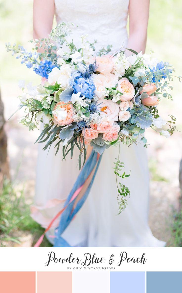 Powder Blue & Peach Spring Wedding Colour Palette
