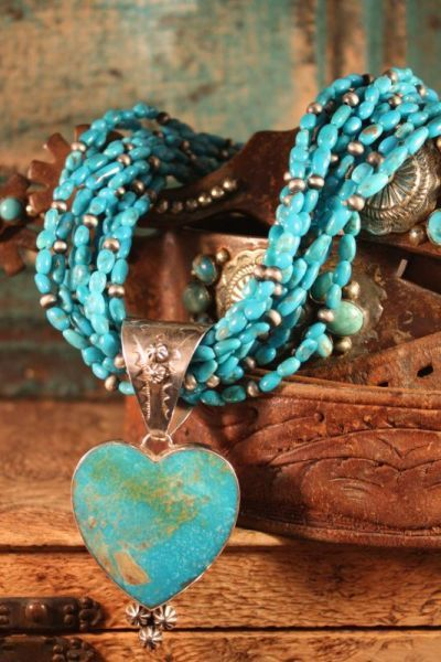 Turquoise and sterling heart necklace