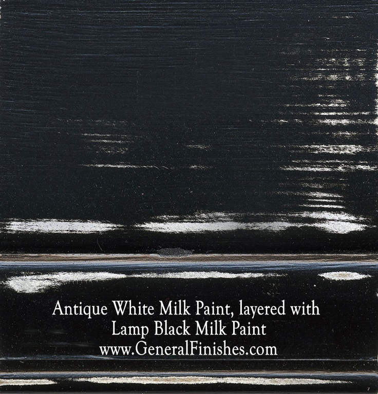 Antique White Milk Paint, layered with Lamp Black Milk Paint by www.GeneralFinishes.com. Perfect for indoor or outdoor furniture & projects - check out http://www.generalfinishes.com/retail-products/water-base-milk-paints-glazes.  Mix it, lighten it, distress it, glaze it, antique it - the only limit is your imagination. Available at unfinished furniture stores - http://www.buyunfinishedfurniture.com, Rockler and Woodcraft Woodworking stores.