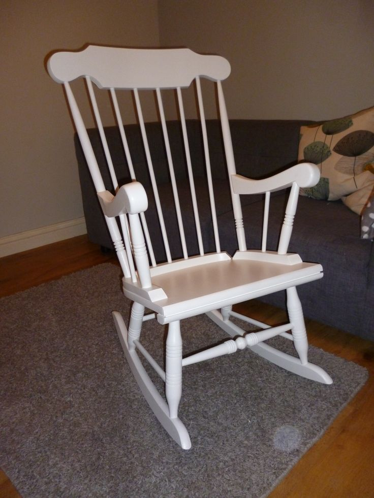 Rocking chair painted in Farrow & Ball wimborne white