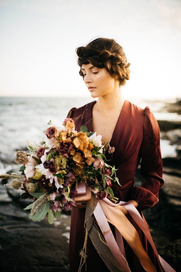 This beachy bridal inspiration by Allison Markova Photography goes beyond a stark white gown and bare feet with a moody romantic twist.