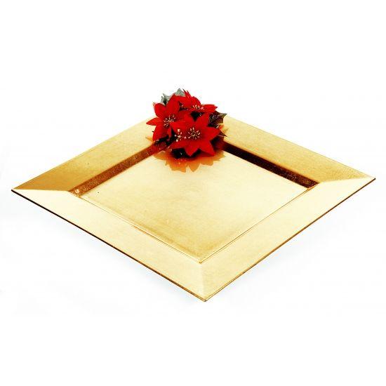 Plastic onderzet bord in het goud. De vierkante onderzetter is 33 x 33 x 2 cm groot en tevens te gebruiken als kaarsenplateau.