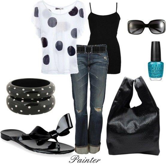 polka dot polka dot polka dot: Shoes, Polka Dots, Black And White, Dream Closet, Poka Dots, Outfit, Black White, Flip Flops, Nails Polish
