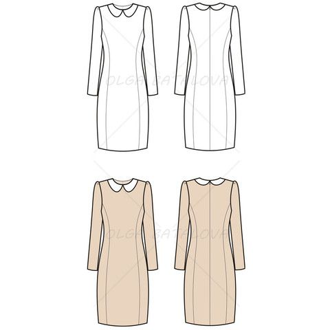 Women's Long Sleeve Dress Fashion Flat Template