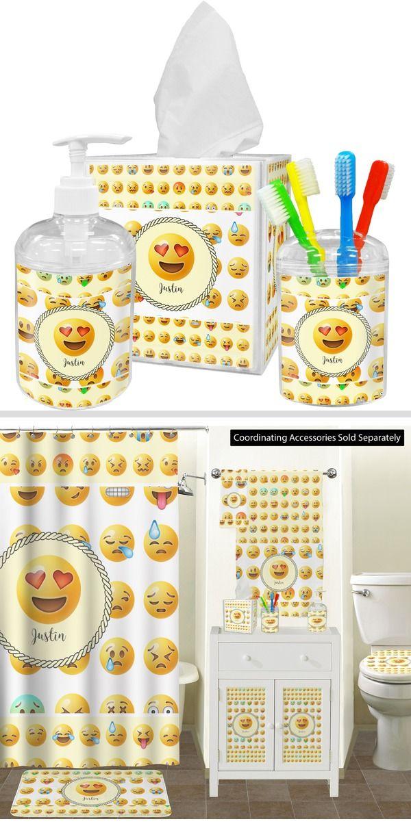 Emojis Bathroom Accessories Set Personalized Bathroom Accessories Sets Bathroom Accessories Bathroom Decor Accessories