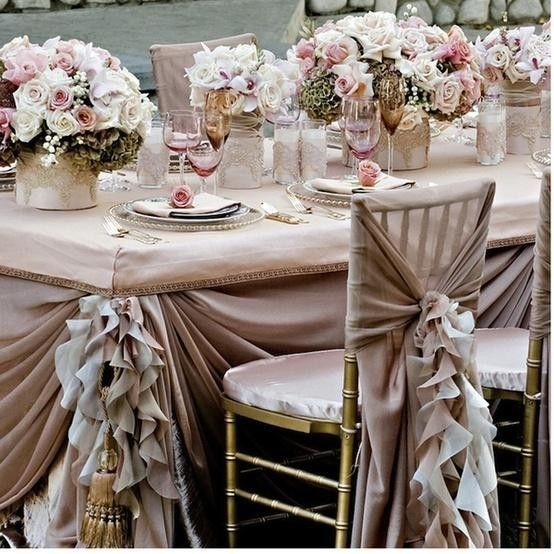 2017 Pink Roses And Ruffled Wedding Chair Covers Frilly Pale
