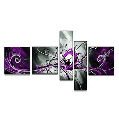 2016年 キャンバスの5pcs /セットの手描きのアート壁の装飾大抽象的な紫色のsplashoil塗装(フレームなし) コレクション – ¥6,136