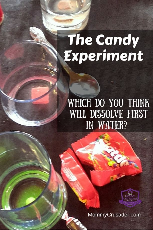 Our fifth grader wanted to know which candy would dissolve the fastest in water. Check out what happened in our candy experiment.