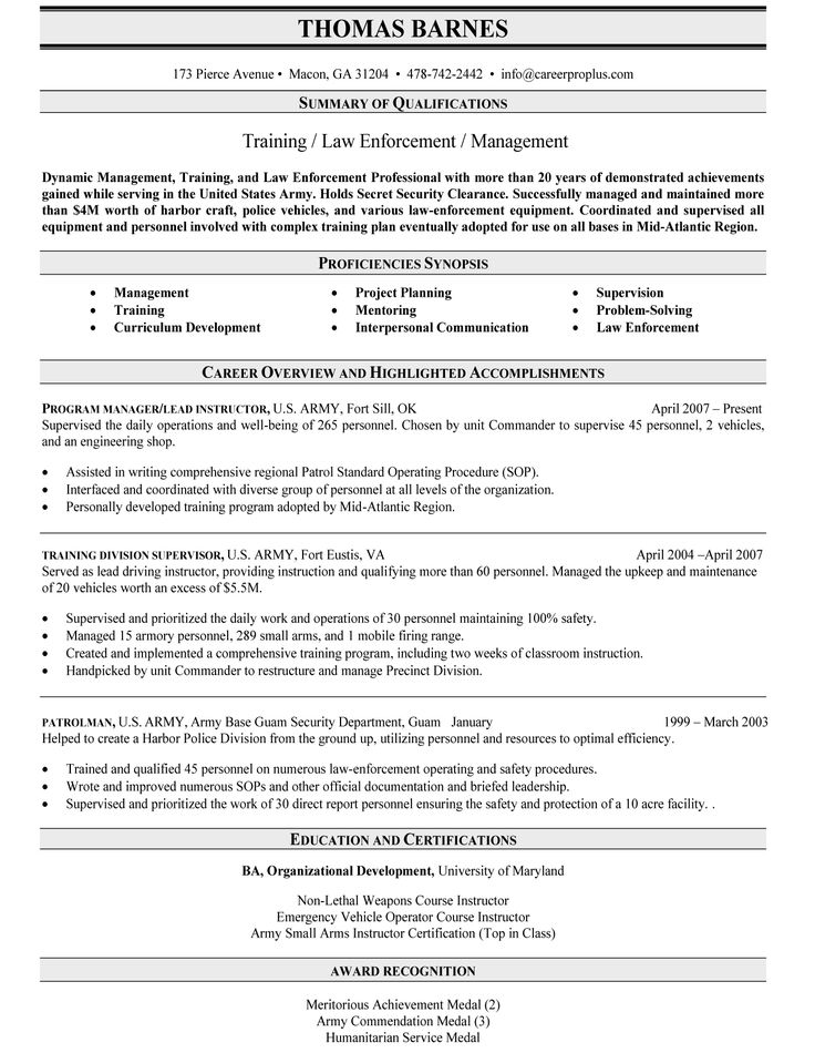 11 best Resumes images on Pinterest Resume cv, Resume help and - army to civilian resume examples
